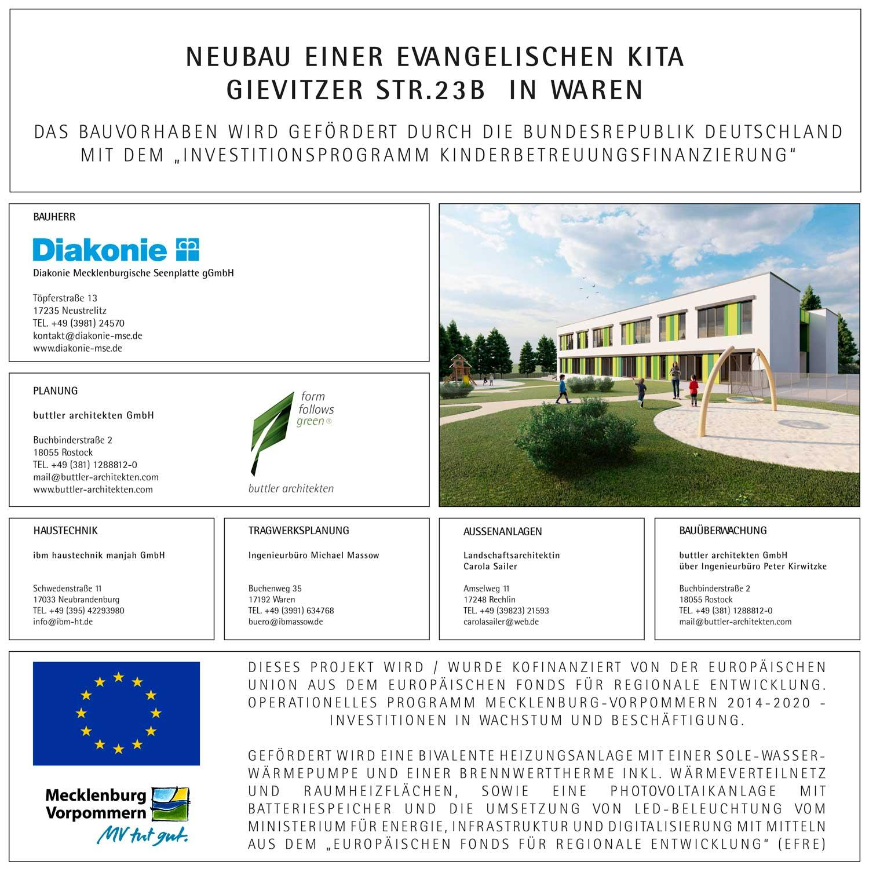Bauschild Neubau EFS Förderung Kita Waren Diakonie